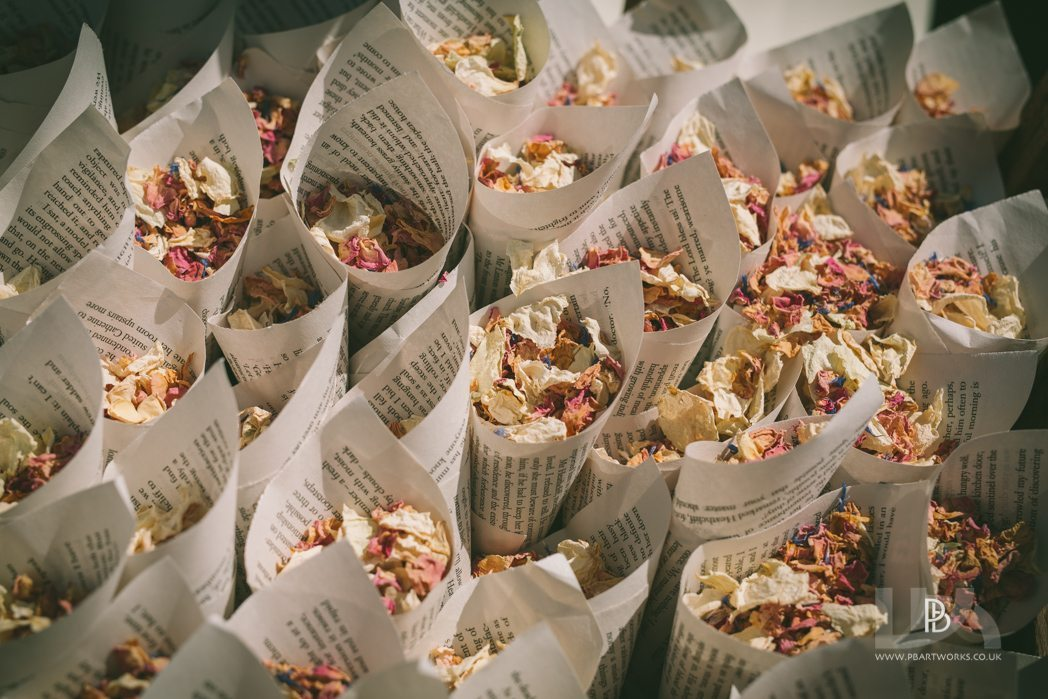 Dried Confetti ready to be thrown over the Bride and Groom at a Shropshire wedding venue