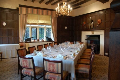 Private dinning at the Albright Hussey Manor Shrewsbury