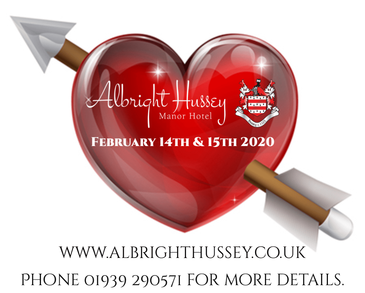 Valentines day. At the Albright Huseey Mnaor hotel in Shrewsbury, Shropshire.